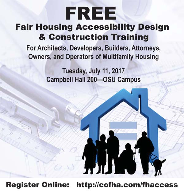 Text Advertisement: Free Fair Housing Accessibility Design & Construction Training