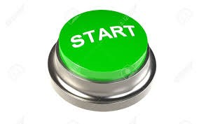 image of a bright green button labeled 'start'